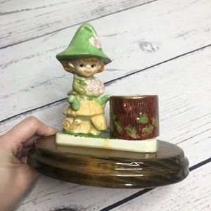 Vintage Forest Pixie Porcelain Tea Candle Holder